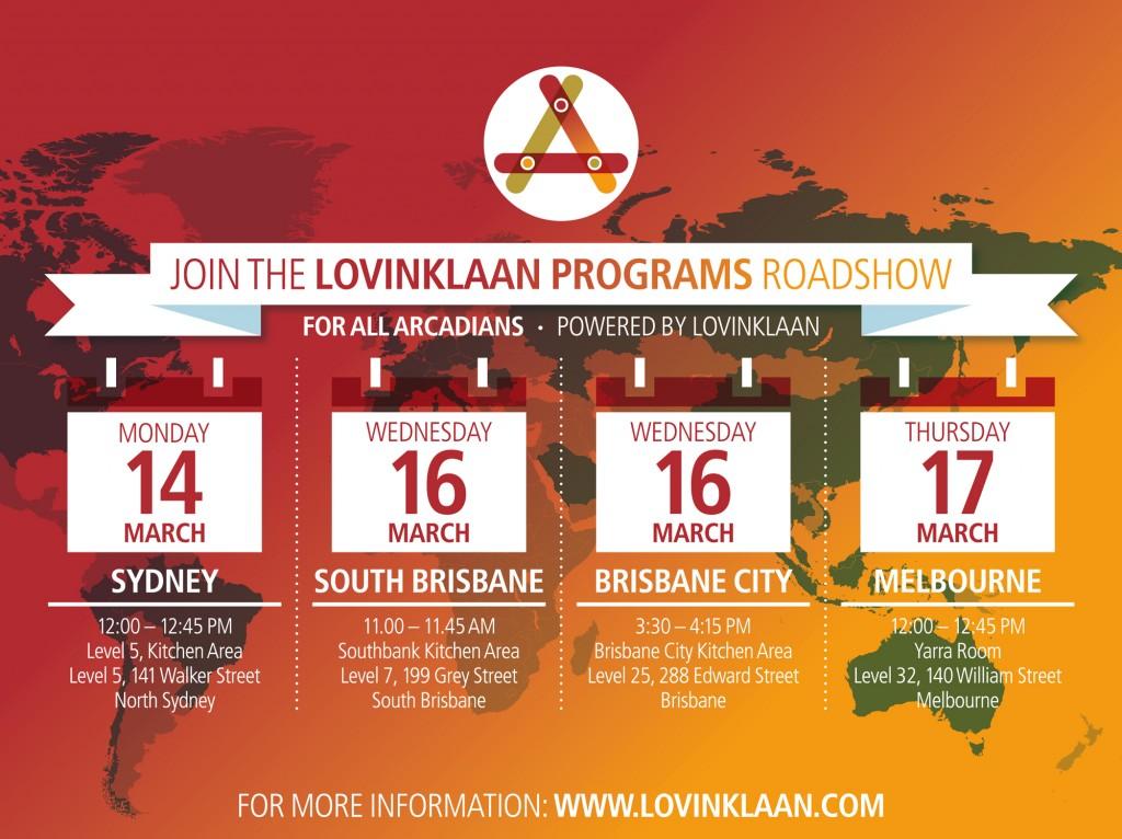 Dates Lovinklaan Roadshow Australia 2016